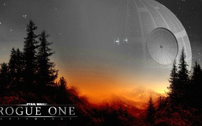 Обои spaceship, spin-off, mountains, horizon, forest, official wallpaper, stars, cinema, film, Endor, sky, weapon, Star Wars, ...