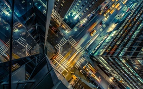 Картинка дорога, авто, ночь, city, город, огни, улица, здание, высота, небоскребы, перекресток, такси, сша, вид сверху, ...