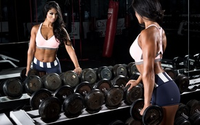 Обои dumbbells, gym, mirror, woman, fitness, sexy, ass, muscle, butt
