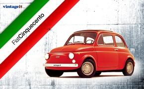 Картинка красный, Италия, 500, WALLPAPER, FIAT, VINTAGE