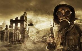 Картинка капюшон, пистолет, руины, дым, верёвка, небо, противогаз, Сталкер