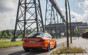 Картинка дорога, машина, столбы, BMW, автомобиль, задок, 3D Design, трубопровод