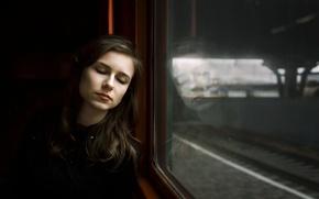 Картинка девушка, поезд, окно