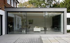 Картинка стекло, дом, комната, вилла, интерьер, modern patio doors in London