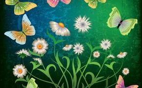 Обои abstract, grunge, butterflies, flowers, design, green, бабочки