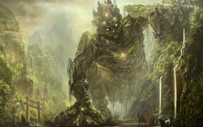 Картинка лес, горы, фантастика, скалы, тропа, существо, фэнтези, арт, чудище, всадник, овраг, рыцарь, путник, лощина, утёсы, …