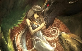 Картинка девушка, драконы, Песнь Льда и Огня, Daenerys Targaryen, Mother of Dragons, A Song Of Ice …
