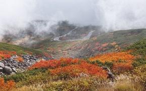 Картинка склон, горы, дорога, небо, трава, осень, облака