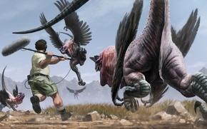 Обои крылья, арт, микрофон, отпугивание, динозавры, наушники, мужчина, фантастика, камни