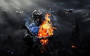 Картинка огонь, череп, солдат, games, battlefield 3