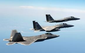 Картинка море, F-22, F-15, Истребители