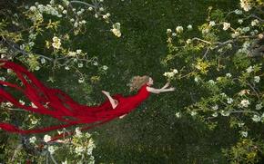 Картинка девушка, деревья, настроение, весна, сад, платье, полёт, красное платье, цветение, Colleen Bachmann