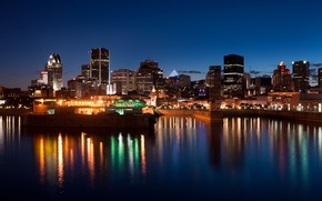 Картинка city, город, река, здания, Канада, Монреаль, Canada, river, полночь, buildings, midnight, Montreal