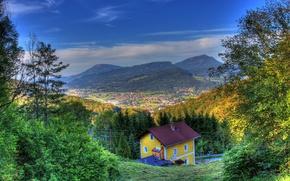 Обои HDR, поля, горы, Австрия, дома, панорама, Hallein, солнце, небо, осень, леса