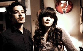 Обои indie pop, Zooey Deschanel, She & Him, Matthew Ward