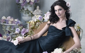 Картинка розы, Девушка, платье, бант