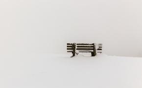 Картинка снег, минимализм, скамья