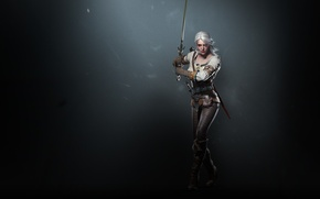 Картинка Меч, Дикая Охота, Арт, Ведьмак, стойка, CD Projekt RED, The Witcher 3: Wild Hunt, Цири, …