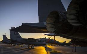 Картинка закат, аэропорт, самолёты