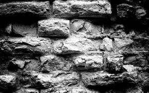 Картинка фон, Стена, кирпичи, черно - белый