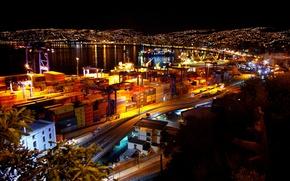 Картинка ночь, порт, night, Чили, port, Chile, noche, puerto, Valparaiso, Вальпараисо, Valparaíso