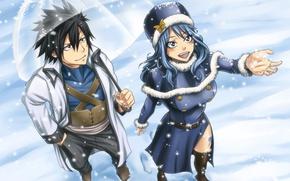 Картинка девушка, зонт, аниме, арт, парень, двое, хвост феи, Fairy Tail, Грей