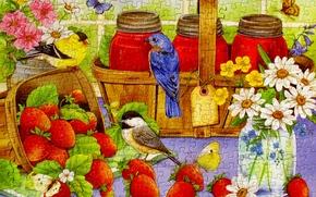 Картинка цветы, птица, бабочка, клубника, пазлы, корзинка