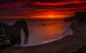 Картинка закат, Англия, известняковые скальные ворота, Durdle Door