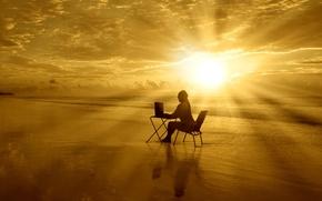 Картинка просторы, HD wallpapers, обои, море, вода, девушка, полноэкранные, солнце, облака, стол, широкоформатные, настроения, фон, компьютер, ...
