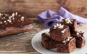 Обои тарелка, орехи, десерт, выпечка, пирожные, сладкое, салфетка, глазурь, шоколадные, противень