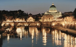 Картинка мост, город, огни, река, Рим, Италия, искусство, Rod Chase, Собор Святого Петра, Тибр, Базилика, Glory ...