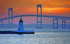 Картинка мост, маяк, США, Ньюпорт, Род-Айленд, Клейборн Пелл