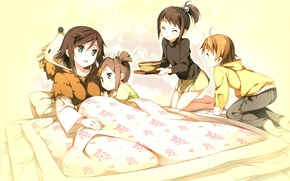 Картинка дети, постель, пижама, поднос, tsukiko tsutsukakushi, ouji to warawanai neko, youto uokodera, tsukishi, tsukasa, by …