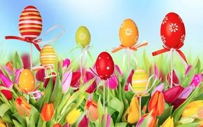 Картинка Tulips, Eggs, тюльпаны, Пасха, яйца, Easter, Spring, весна
