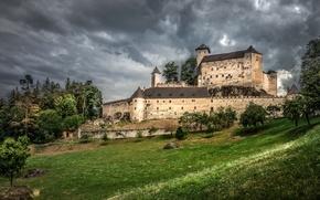 Картинка небо, трава, деревья, тучи, замок, пасмурно, Австрия, склон, Rappottenstein