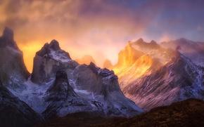 Обои свет, горы, скалы, краски