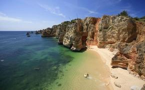 Обои песок, море, скалы, берег