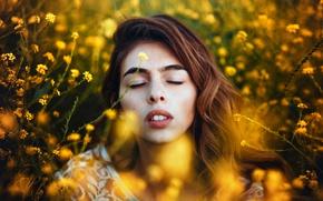 Картинка девушка, In yellow, лето