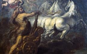 Обои колесница, картина, мифология, ангел, Jean Baptiste Borrekens, лошади, Апофеоз Геркулеса