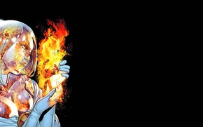Картинка огонь, черный фон, Marvel, комикс, comics, Emma Frost, Hawkeye, Соколиный глаз, Эмма Фрост