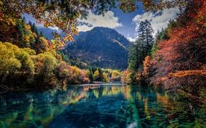 Картинка осень, деревья, горы, природа, озеро, река