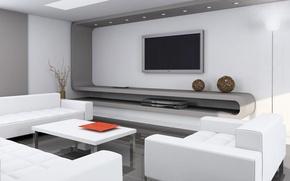 Картинка стиль, стол, комната, диван, кресло, телевизор