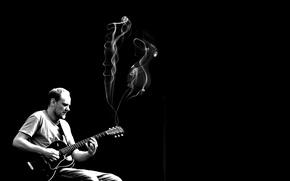 Картинка музыка, дым, сцена, гитара, гитарист, музыкант