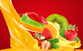 Обои ягоды, сок, фрукты, фон