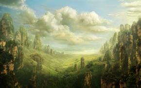 Картинка пейзаж, скалы, ландшафт, долина, фэнтези, арт, fantasy, art, Valley, Pulpoglow