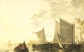 Картинка пейзаж, лодка, картина, парус, Албертус Брондгест, Вид Реки