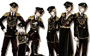 Картинка пистолет, перчатки, фуражка, военная форма, misaki yata, аксельбанты, эполеты, проект кей, mikoto souh, yashiro isana, …