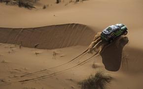 Картинка Песок, Авто, Спорт, Пустыня, Зеленый, Машина, Гонка, Mini Cooper, Вид сверху, Rally, Dakar, Внедорожник, MINI, ...