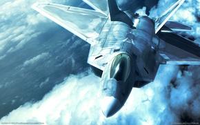 Картинка небо, истребитель, F-22, Raptor, ace combat x