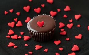 Картинка любовь, сердце, еда, шоколад, love, пирожное, десерт, heart, food, сладкое, chocolate, cream, dessert, muffins, Кексы